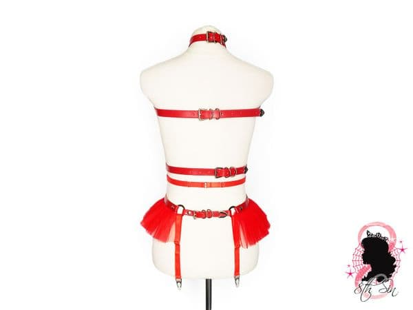 Red Faux Leather O Ring Harness Set